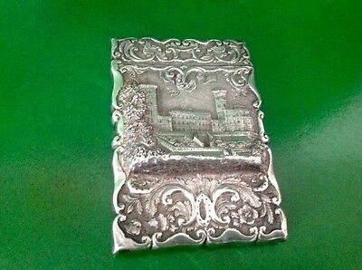 Osborne House Castle Top Antique English Sterling Silver Card Case 1859