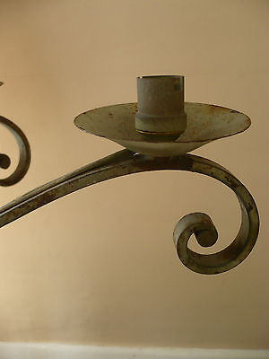 Rare Vintage French Art Nouveau Wrought Iron Six Branch Chandelier Light Fitting