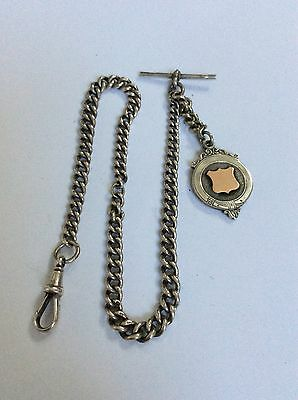 Antique Solid Silver Long Albert Watch or Neck Chain & 9CT Gold & silver Fob