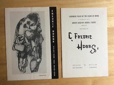 lot of 2 *C. FREDERIC HOBBS* 1958 EXHIBITION BOOKLET + HANDOUT
