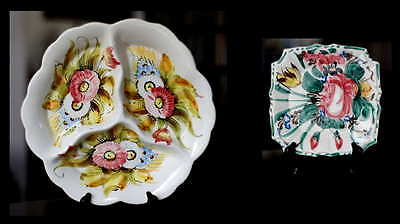 2 Pcs Vintage Italian Pottery Divided Serving Plate Salad Plate Hand Painted