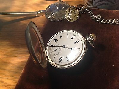 Antique Silver Double hunter pocket with a sub-dial , Albert Chain And Key