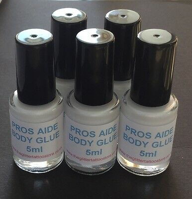 5 x 5ml PROS AIDE BODY GLUE GLITTER TATTOO/GEMS/FESTIVAL FACE/LIPS ADHESIVE LOT