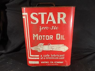 Vintage 2 Gallon Star Motor Oil Can Gasoline Whiting Oil Comp.