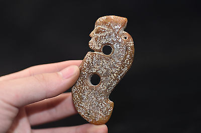 Old Chinese Neolithic HongShan jade Hand carved Amulet Pendant M14