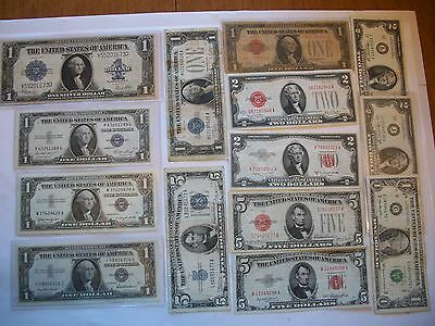 U.S. Currency Sampler Lot, 14 Notes - Sil. Certs., USNs, FRNs, Circ-Unc., Mix #1