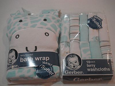 Gerber Hooded Bath Wrap and 10 Pack Washcloths NEW Unisex Baby Shower Gift CUTE