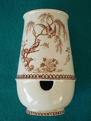 Antique Aesthetic Era Brown Transferware Porcelain TOOTHBRUSH HOLDER VASE Birds