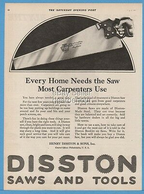 1920 Disston Diamond Saws Philadelphia Hand Saw Carpenters Use Vintage Tool Ad
