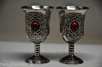 Exquisite Chinese Handmade Miao Silver Inlaid Zircon A pair Red Goblet Wine cups