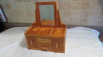 Vintage Wooden Folk Art Jewelry Box/dresser With Inlaid Wood Salesman Sample