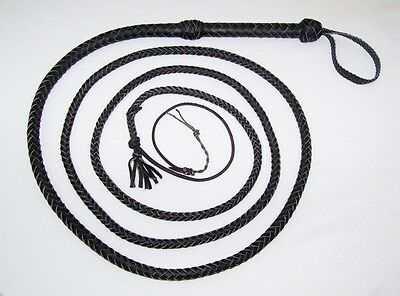 12 foot 8 Plait BLACK Real Leather Bullwhip Indiana Jones Leather Bull whips