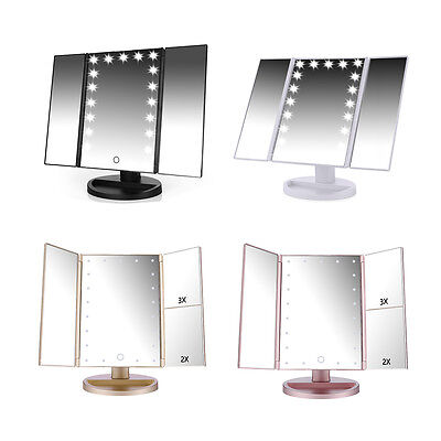 Easehold 21 LED Lighted Touch Screen Makeup Cosmetic Vanity Stand Mirror 4 Color