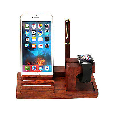 Support Solide Bois Rose Dock Docking Station Chargeur Pr Watch iPhone iPad IPod