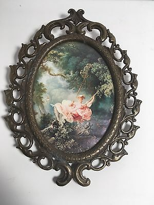 Vintage Italian Brass Oval Frame Victorian Made in Italy Home Wall Decor