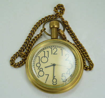 Handmade- 807075 Vintage Replica Shiny Brass Pocket Watch With Long Chain