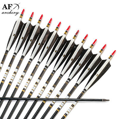 AF Archery 12pcs Turkey feathers spine 500 Handmade Aluminum Arrows for longbow