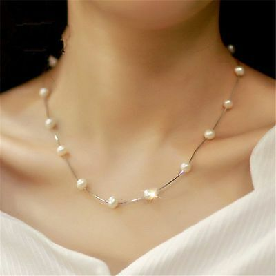 Women's Charm Jewelry Pendant Chain Pearl Choker Chunky Statement Bib Necklace