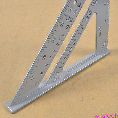 "Alloy Speed Square Protractor Miter Framing Measurement Ruler For Carpenter 7"" J"