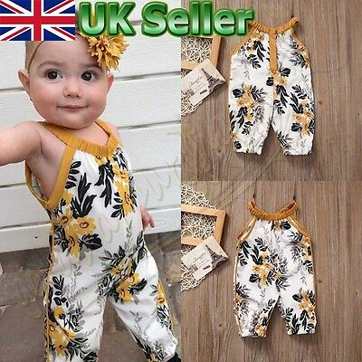 Baby Girls Kids Floral sleeveless Romper Jumpsuit Toddler Summer Clothes Outfits