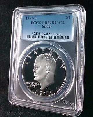 1971-S $1 Silver Pcgs Pr69Dcam Eisenhower Silver Dollar Ike U.s. Coin #71Gs-01