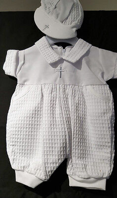 Spanish Style Baby Boy White Christening Romper with Cap