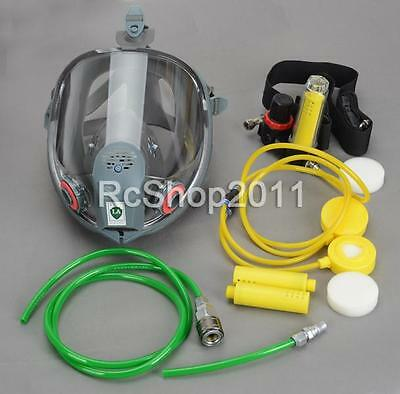 Complete Set Circulating Air Supply w/Silicone Gas Mask Full Face Respirator AU