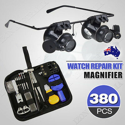 380 Watchmaker Horologe Watch Repair Tool Set 20x Headband Magnifier