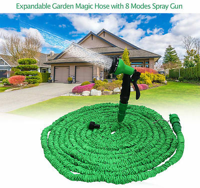 25/50/75/100FT TALL TOP Expandable Flexible Water Hose Pipe 8 Modes Spray Gun UK