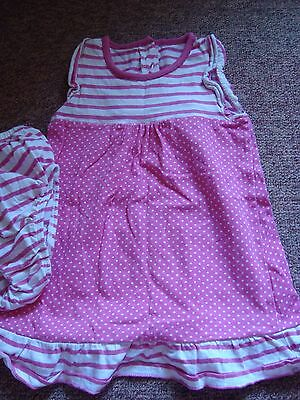 Pink and white 2-piece dress and knickers outfit set. Size 12-18mths.