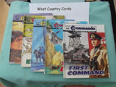 COMMANDO COMICs, Numbers: 2222,2245,2247,2258,2261. G/VG Condition
