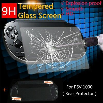 1x 9H Front + Back Protector Tempered Glass Screen Flim For Sony PS Vita PSV1000