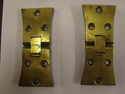 Large Victorian Solid Brass Butterfly Butt Hinges