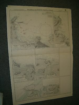 Vintage Admiralty Chart 77 PORTS ON THE NORTH COAST OF SPAIN 1932 edn