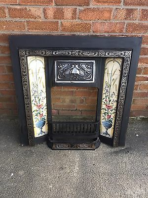 Beautiful Victorian Cast Iron Fire Surround With Tiles