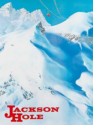 Jackson Hole Wyoming Ski Vintage United States Travel Advertisement Poster Print