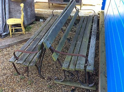 Large Wooden / Iron Vintage Strap Benches