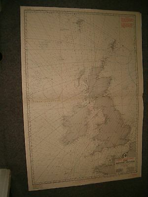 Vintage Admiralty Chart L2 (Consol) THE BRITISH ISLES 1922 edn
