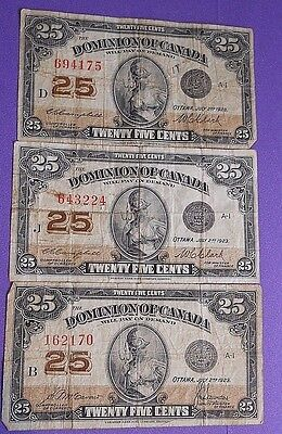 Canada 25 Cent 1900 Paper Money  SET OF FIVE