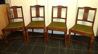 Set of 4 Art Deco Oak Dining Chairs