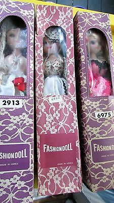 Vintage 1960's Fashion Dolls Set Of 3 Made In Korea Mint In Boxes Big Eyes