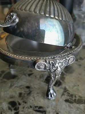 Butter dish, F.B. Rogers Silver Co. louvered Roll Top, Lion 3 Footed,Silverplate