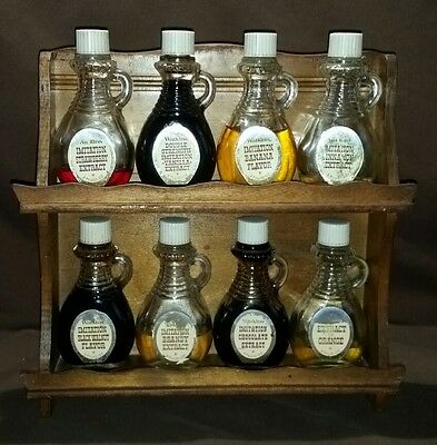Vintage Watkins Extract Flavoring 8 Glass Bottles w/ handle Wooden Spice Rack