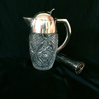 Antique 800 Silver & Cut Glass Huge Jug-Pitcher With Ice Holder,very Beautiful.