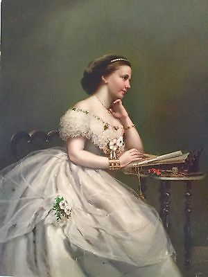 """Antique oil painting """" Young woman"""" created in 19 century,magnificent quality."""