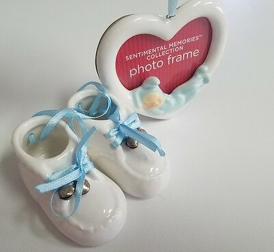 Ceramic keepsake baby boy photo frame with baby shoes- baby shower gift