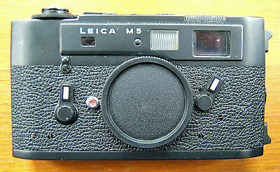 Black Leica M5 35mm Rangefinder Camera Body with Body Cap and Eveready Case