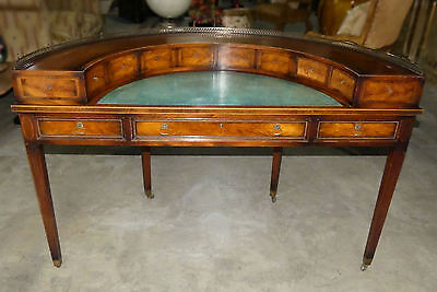 1072-801: J. ZONON, NY, Regency Demilune Leather Top Desk with Brass Gallery