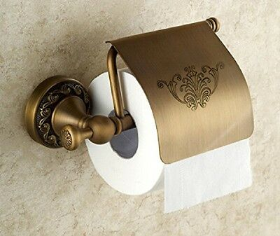 Oulantron Antique Brass Toilet Paper Holder Roll Tissue Bracket Wall Mounted NEW