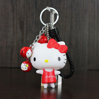 Classic Hello Kitty KeyChain with Small Bell Handbags Accessories Car KeyChains